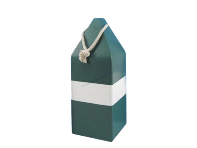 Wooden Green Dark Colored Buoy w- Rope 14