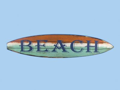 Wooden Surf Board Beach Wall Sign 22