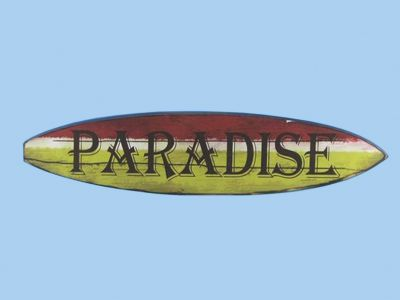 Wooden Surf Board Paradise Wall Sign 22