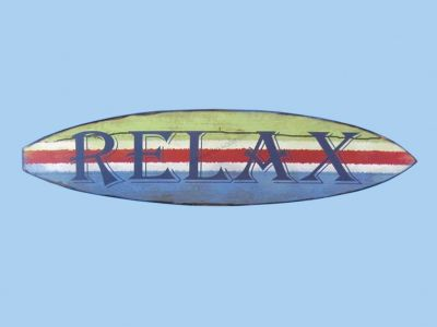 Wooden Surf Board Relax Wall Sign 22