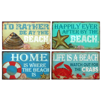 Wooden Beach Theme Variety Signs 10 - Set of 4