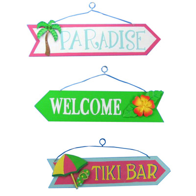 Set of 3 - Wooden Paradise Welcome Tiki Arrow Signs 16