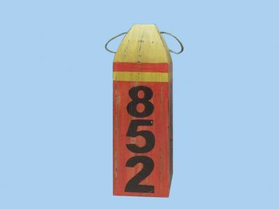 Wooden Red and Yellow Nautical Buoy w-Numbers 16