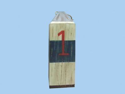 Wooden White and Blue Nautical Buoy w-Numbers 16