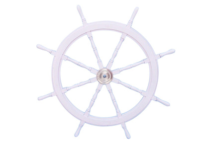Deluxe Class White Wood and Chrome Ship Steering Wheel 48