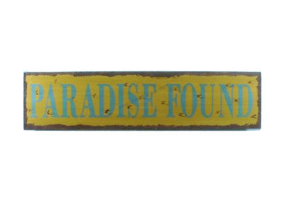 Wooden Paradise Found Beach Life Sign 24