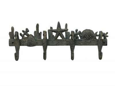 Antique Seaworn Bronze Cast Iron Wall Mounted Starfish with Seahorse Hooks 12\