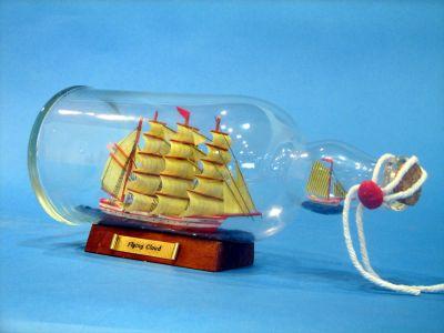 Red Flying Cloud Ship in a Bottle 11
