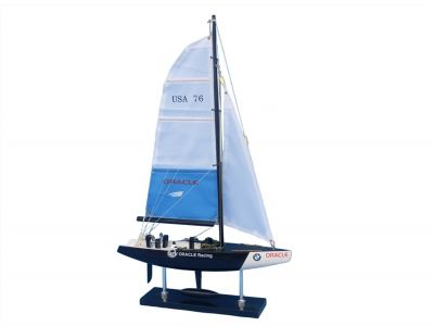 Wooden BMW Oracle Model Sailboat Decoration 23""