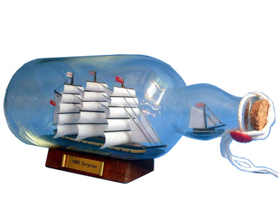 Master And Commander HMS Surprise Ship in a Bottle 11