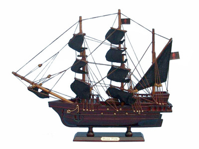 Wooden Ed Low\'s Rose Pink Model Pirate Ship 14""