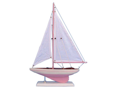 Wooden Pink Pacific Sailer Model Sailboat Decoration 17""
