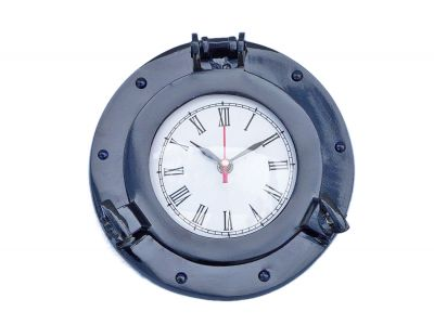 Brass Deluxe Class Porthole Clock 8 - Dark Blue