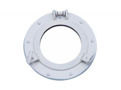 Brass Deluxe Class Porthole Mirror 8 - White