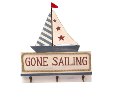 Wooden Gone Sailing Plaque with Hooks 17