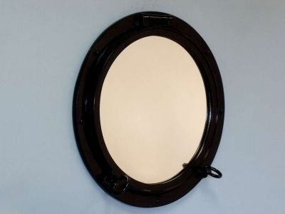 Gloss Black Finish Porthole Mirror 24