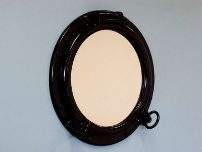 Gloss Black Finish Porthole Mirror 20