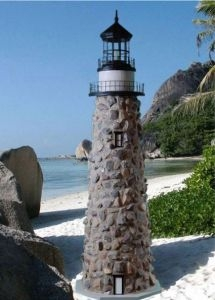 Natural Stone Electric Lawn Lighthouse 60