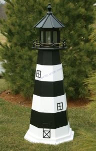 Bodie Island Electric Painted Wooden Lighthouse  48