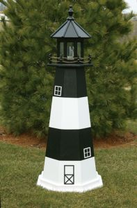 Fire Island Electric Painted Wooden Lighthouse 72