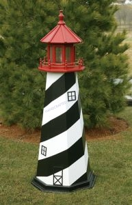 St. Augustine Electric Painted Wooden Lighthouse  48