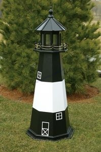 Tybee Island Electric Painted Wooden Lighthouse 60