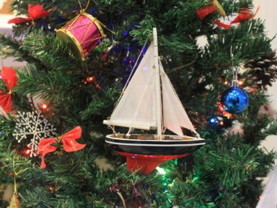 American Sailboat Christmas Tree Ornament 9""