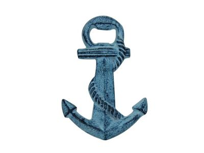 Rustic Dark Blue Whitewashed Cast Iron Anchor Bottle Opener 5\