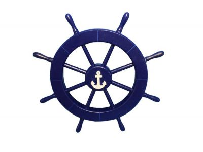 Dark Blue Ship Wheel with Anchor 18