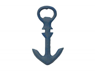Rustic Light Blue Cast Iron Anchor Bottle Opener 5""