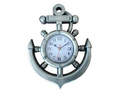 Silver Ship Wheel and Anchor Wall Clock 15""