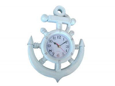 Whitewashed Ship Wheel and Anchor Wall Clock 15""