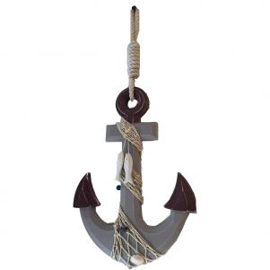 Wooden Rustic Decorative Anchor w/ Hook Rope and Shells 13""