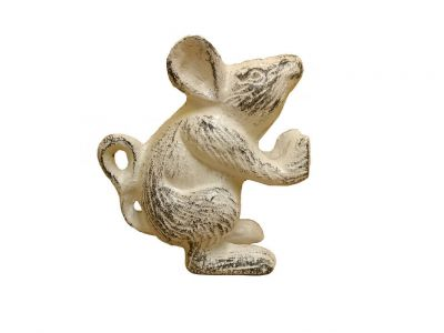 Whitewashed Cast Iron Mouse Door Stopper 5\
