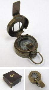 Antique Brass Prismatic Compass 3 with Rosewood Box