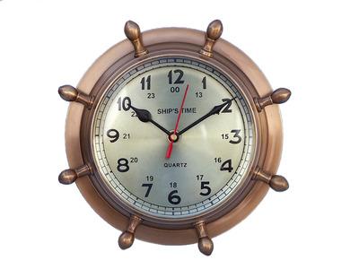 Antique Brass Double Dial Porthole Wheel Clock 8