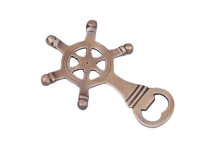 Antique Brass Ship Wheel Bottle Opener 5""