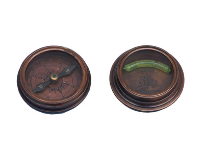 Antique Copper Compass with Clinometer Paperweight 3