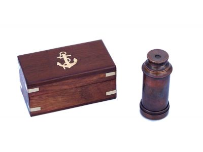 Scouts Antique Copper Spyglass Telescope 7 with Rosewood Box