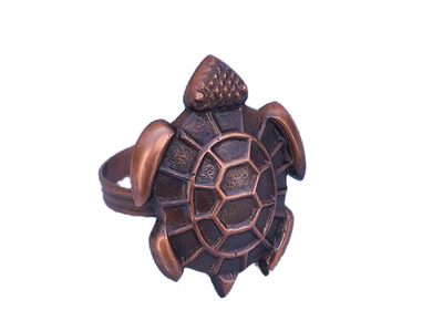 Antique Copper Turtle Napkin Ring 3""