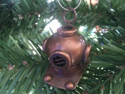Antique Copper Diving Helmet Christmas Ornament 5""