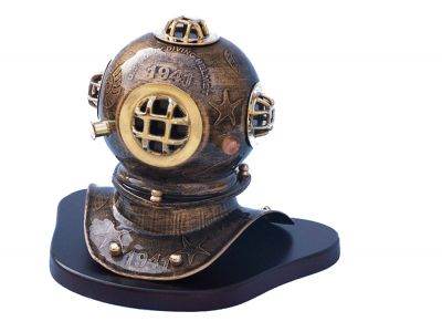 Iron Embossed Divers Helmet with Base 10