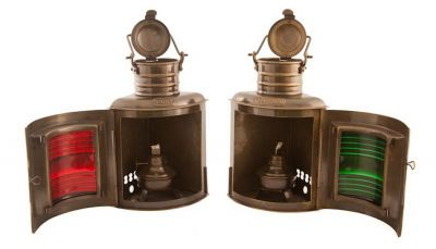 Antique Brass Port and Starboard Oil Lantern 10