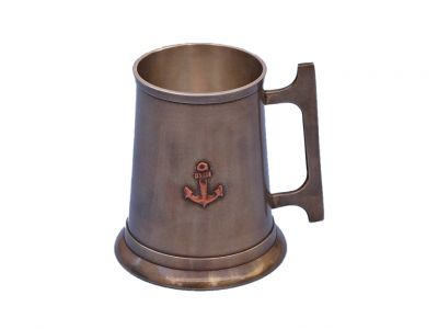 Antique Brass Anchor Mug With Cleat Handle 5\