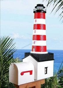 Assateague Solar Powered Stucco Lighthouse Mailbox 36
