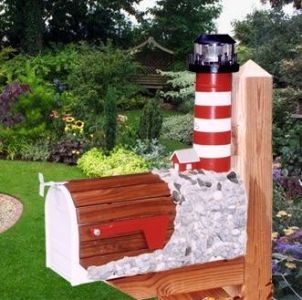 Assateague Solar Powered Wooden Lighthouse Mailbox 36