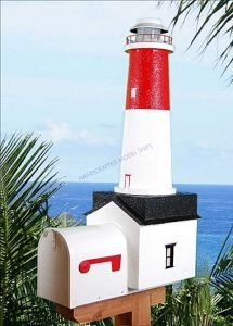 Barnegat  Solar Powered Stucco Lighthouse Mailbox 36