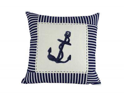 Blue Anchor Nautical Stripes Decorative Throw Pillow 16\