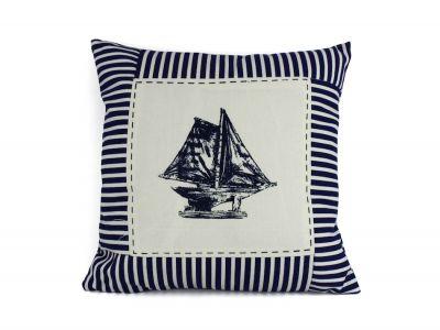 Blue Sloop Nautical Stripes Decorative Throw Pillow 16\