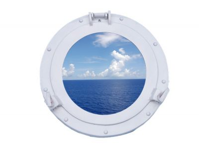 Brass Deluxe Class Porthole Window 12 - White